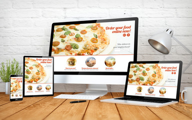 Wall Mural - modern order online website screen multidevices