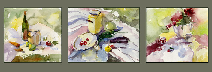 Set of three still lives with food (fruit and vegetable), tableware and flowers. Watercolor painting. Hand drawn.