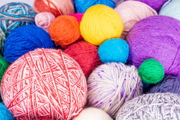 wool yarn ball. Colorful threads for needlework. Colorful fabric