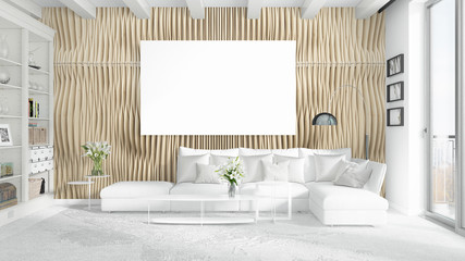 Modern bright interior with empty frame . 3D rendering