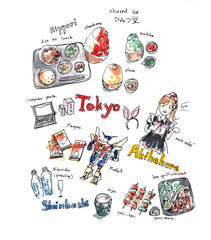 Illustration memory of Tokyo. Food and fun experience drawing do
