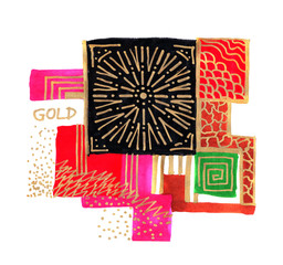 Hand drawing pattern in pink, gold color, abstract indian asian