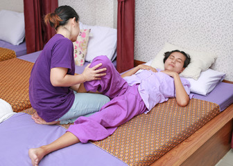 Famous Thai massage, Therapist action for customer.