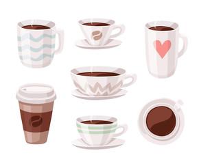 Set of Cartoon Style Coffee Cup. Vector Illustration Hand Drawn Caffeine Drinks