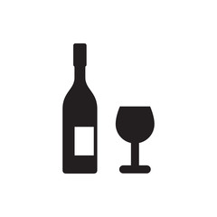 wine glass and bottle icon.