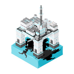 Isometric Drilling Platform Oil Spill Disaster Icon.