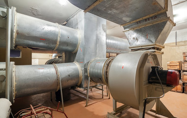 The industrial air ventilation system with supply fan in underground bomb shelter for a few thousand people