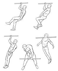 Street workout outline set