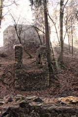 Ruins of the medieval castle entrance path