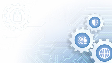 Circuit Board Vector Illustration with Cogwheels and Internet Security and Protection Icons