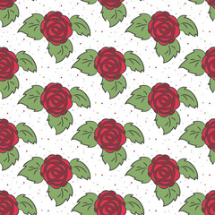 Seamless pattern with roses on the white background for your des