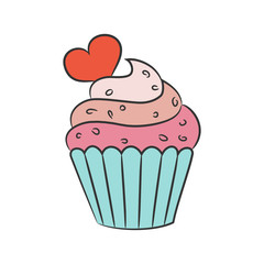 Cupcake with hearts on the white background.
