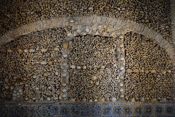 Wall made of Skulls and Bones, Chapel of Bones, Evora, Alentejo