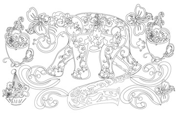 Hand drawn pattern Elephant. Vintage graphic vector animal. Adult coloring book.