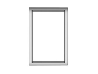stainless picture frame isolated on white background, 3d rendering illustration