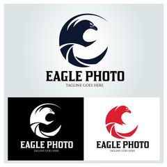 Eagle photography logo design template. Vector illustration