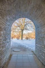 Perfect gobblestone corridor with gateway