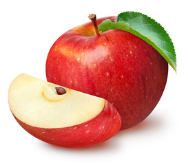 Isolated apples. Whole red apple fruit with slice (cut) isolated on white with clipping path-2