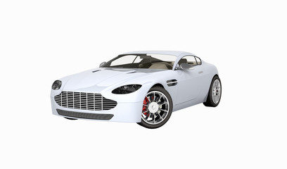 sport car vehicle without shadow on white background 3d