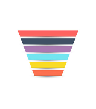 Sales Funnel with 6 stages of the sales process. Vector illustration.