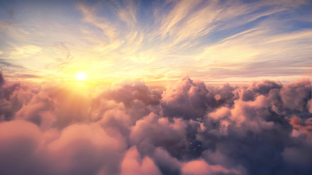 Flying over the evening timelapse clouds with the late sun. Flight through moving cloudscape with beautiful sun rays. Traveling by air. Perfect for cinema, background