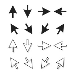 Arrows vector set isolated on white background, black and white direction pointer arrows, up down left right mouse arrow icon