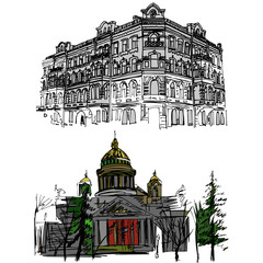 Hand drawn sketch of buildings in the old town in doodle style