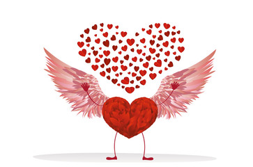 Red heart with legs and beautiful wings. Raise your hands up
