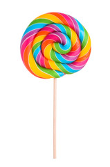 Colorful rainbow lollipop swirl on wooden stick isolated on white background