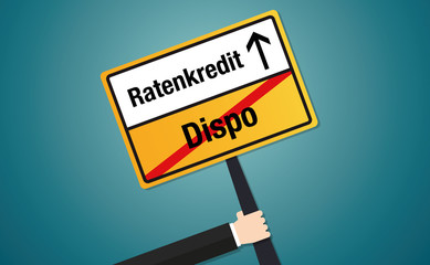 Dispo Ratenkredit Schild