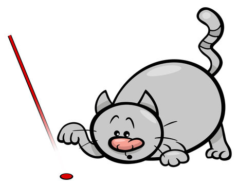 cat play with laser cartoon