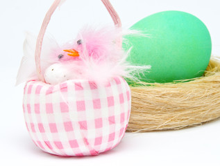 Colorful Easter egg and little chick