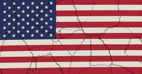 Amerika Flagge mit Rissen und Bruchstellen