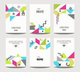 Vector trendy brochure templates with chaotic flat geometry in memphis style. Modern minimalistic design for poster, banner, cover presentation, flyer, invitation. A4 layout.