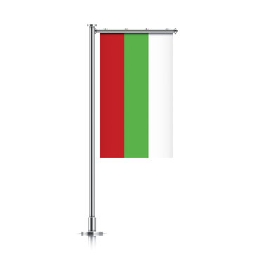 Bulgaria vector banner flag hanging on a silver metallic pole. Vertical Bulgaria flag template isolated on a white background.
