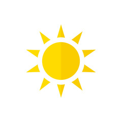 Vector sun icon. Flat style with shadow.