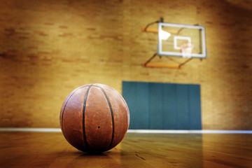 Basketball on Ball Court for Competition and Sports