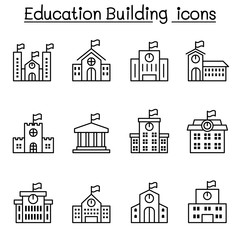 School building icon set in thin line style