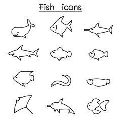 Fish icon set in thin line style