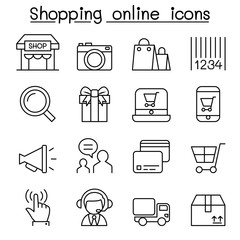 Shopping online icon set in thin line style