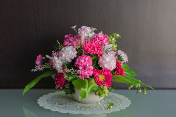 still life vase with flowers background.