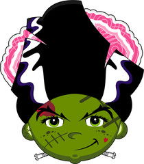 Cartoon Bride of Frankenstein