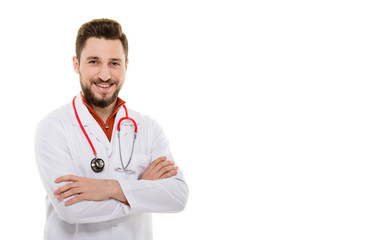Male Doctor Smiling on White Background