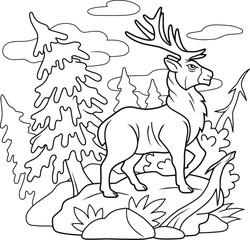 cartoon deer walking through the forest