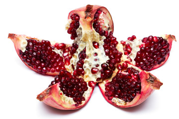 cut pomegranate with seeds