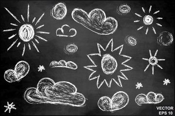 Set of sun and clouds on the chalkboard. For your design.