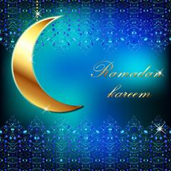 Ramadan kareem - Vector blue east template