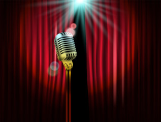 Opening stage curtains with shining microphone. Vector illustrat