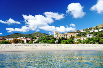 Beach and port of Marina di Camerota, Italy