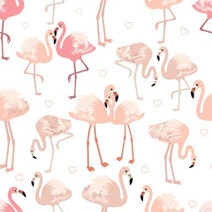 Canvas Prints Seamless pattern with pink flamingos